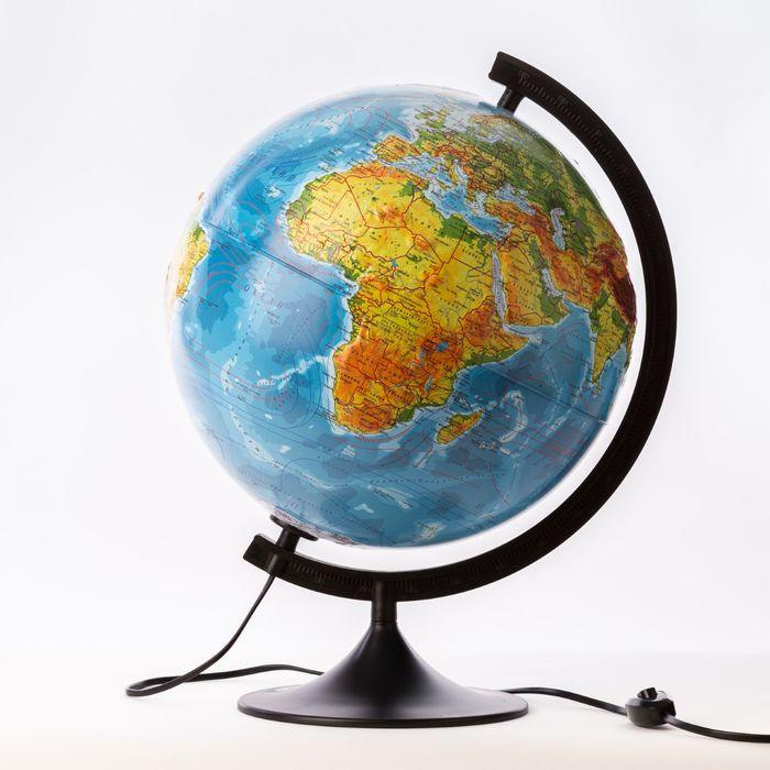 Глобус физико-политический рельефный «Классик», диаметр 320 мм, с подсветкой