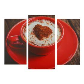"""Картина модульная на подрамнике """"Кофе в красной кружке"""" 2шт-25,5*50,5,30,5*60см , 60х100 см"""