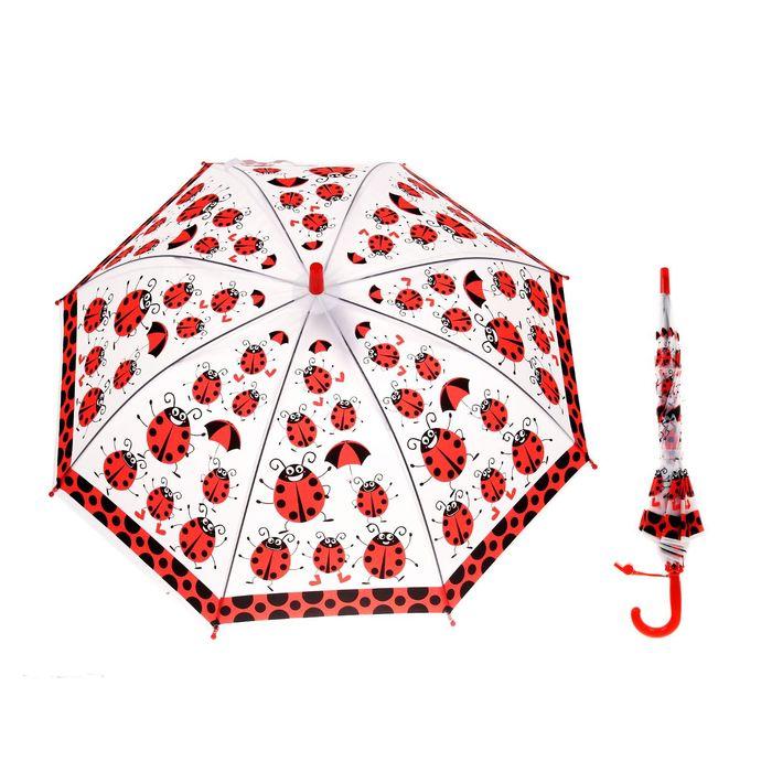 """Зонт детский полуавтоматический """"Божьи коровки"""", со свистком, r=38,5см, цвет красный"""