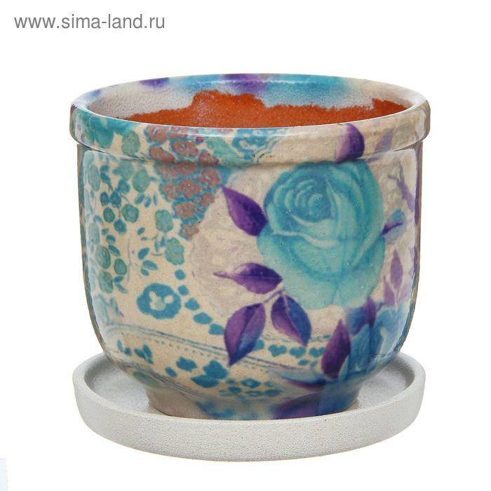 """Кашпо """"Цветник"""" синее, роза 1 л"""