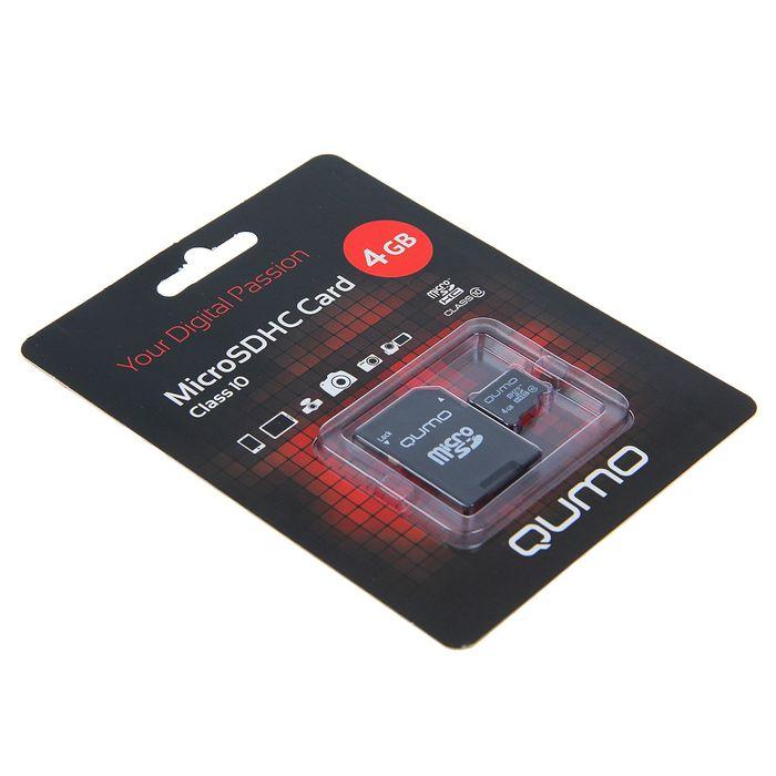 Карта памяти MicroSDHC Qumo, 4 GB, Сlass 10, с адаптером SD