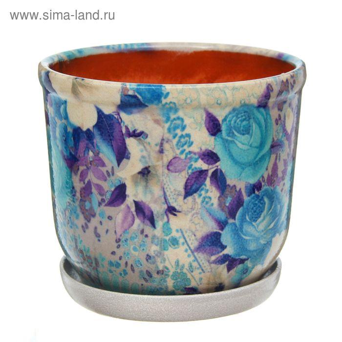 """Кашпо """"Цветник"""" синее, розы 2,5 л"""