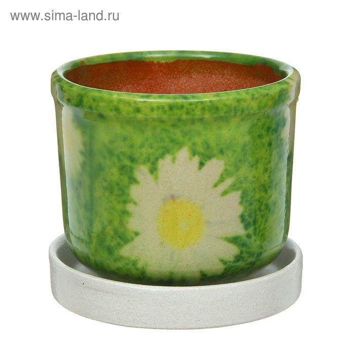 "Кашпо ""Цветник"" зелёное, ромашки 0,3 л"