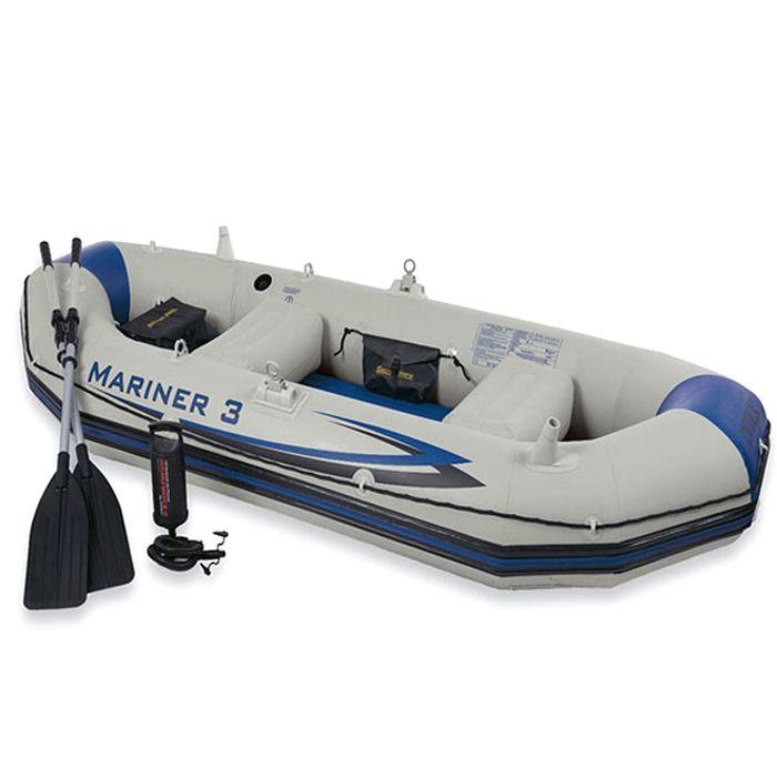 Лодка надувная «Мореход 3», 127 х 297 х 46 см, вёсла алюминиевые, насос ручной, сумка, до 300 кг, 68373NP INTEX