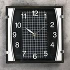 """Часы настенные квадратные """"Серия Black. Checkered"""", чёрные, циферблат клетка на чёрном фоне"""
