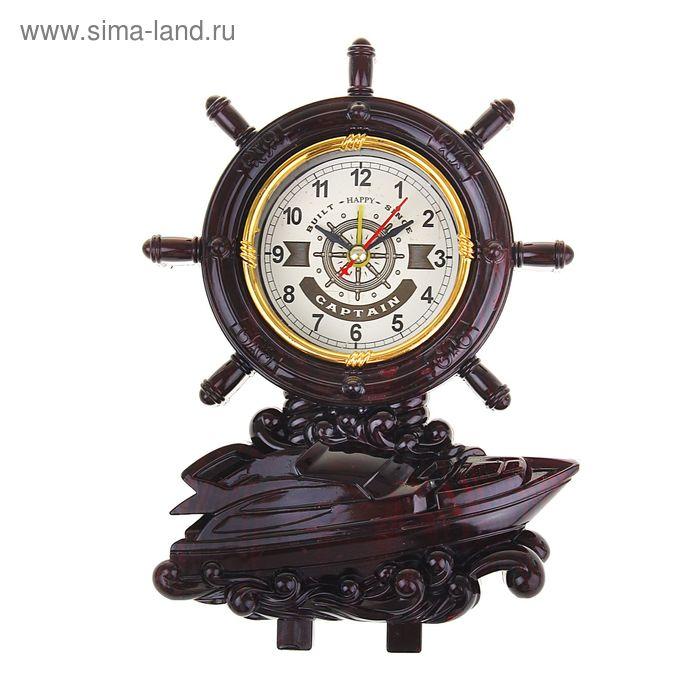 Часы настольные циферблат в виде штурвала, катер 22*15*6,5 см.