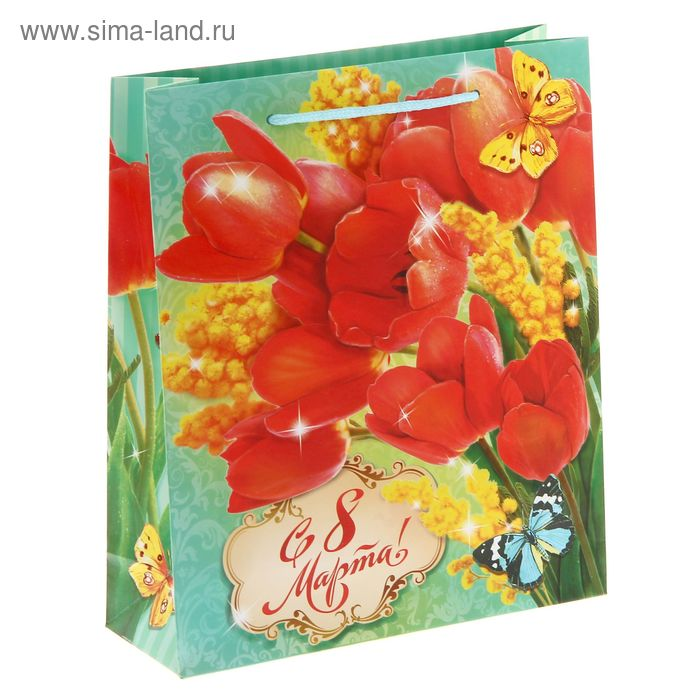 Пакет ламинат вертикальный «Тюльпаны», ML 23 х 27 х 8 см