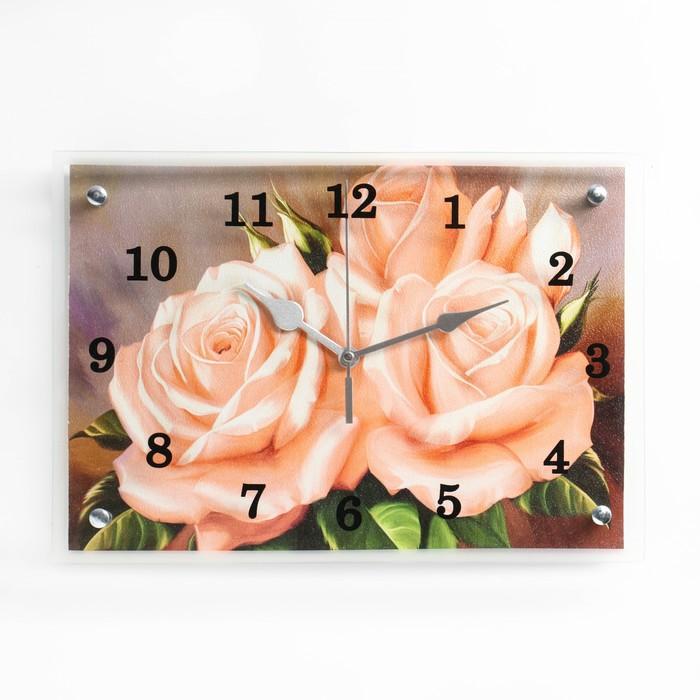 """Часы настенные прямоугольные """"Розы"""" 25х35см"""