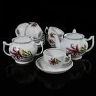"""Сервиз чайный на 6 персон """"Розовая Лилия"""", 14 предметов: чайник 600 мл, сахарница 500 мл, 6 чашек 200 мл, 6 блюдец 14 см"""