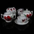 """Сервиз чайный на 6 персон """"Маков Цвет"""", 14 предметов: чайник 600 мл, сахарница 500 мл, 6 чашек 200 мл, 6 блюдец 14 см"""