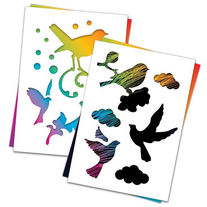 """3 гравюры и 2 трафарета """"Птицы"""" А4 с цветным основанием"""