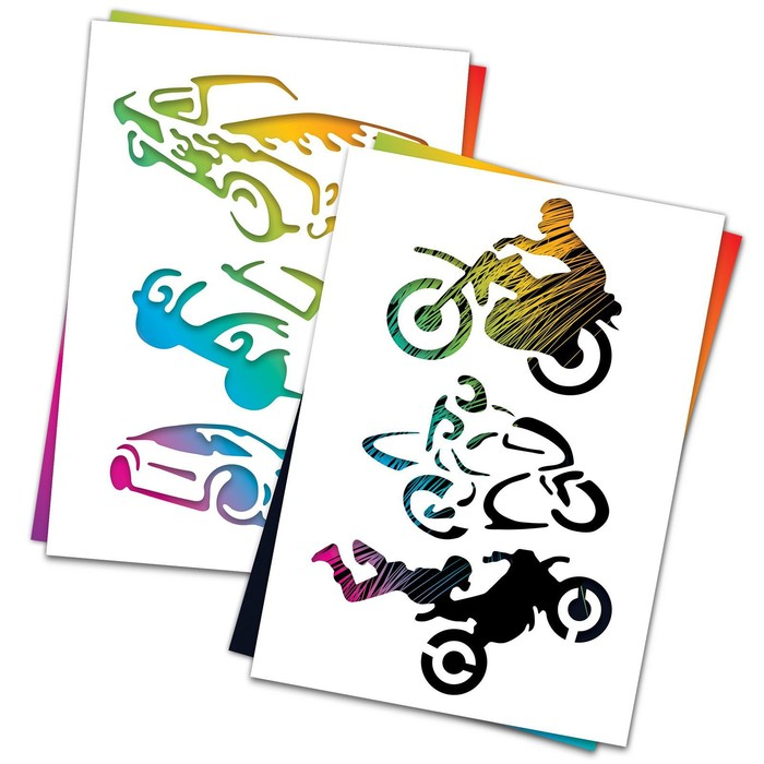 """3 гравюры и 2 трафарета """"Транспорт"""" А4 с цветным основанием"""