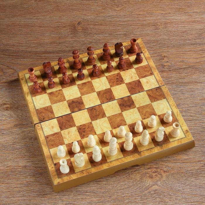 """Настольная игра 3 в 1 """"Гравар"""": шахматы, шашки, нарды, 29х29 см, лакированное"""