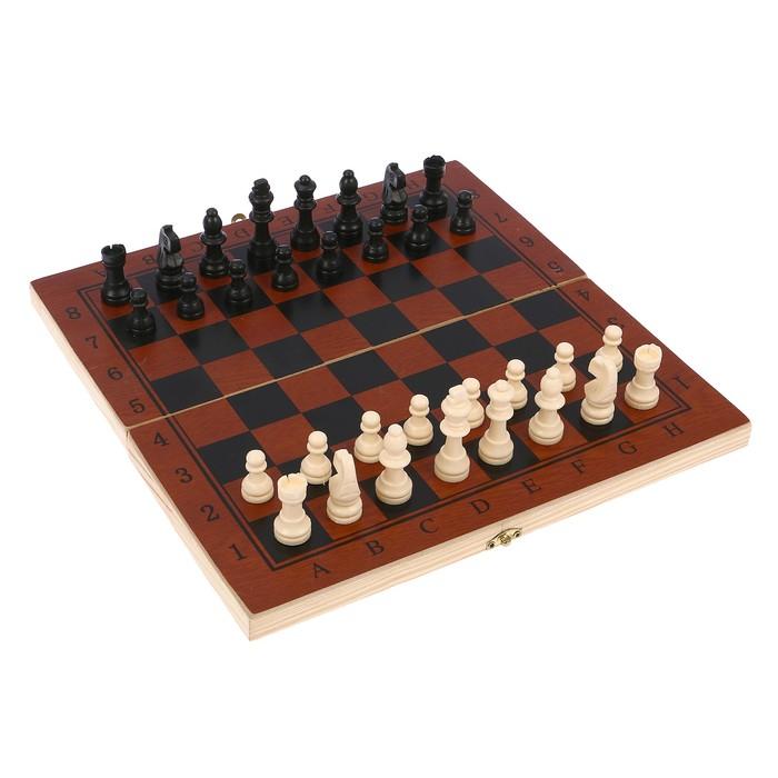 Настольная игра 3 в 1: шашки, шахматы, нарды, доска 29 × 29 см, тёмное дерево