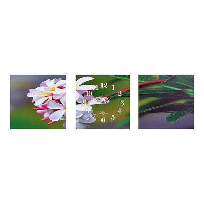 Часы-триптих модульные «Цветы на зелёной ветке», 40 × 100 см