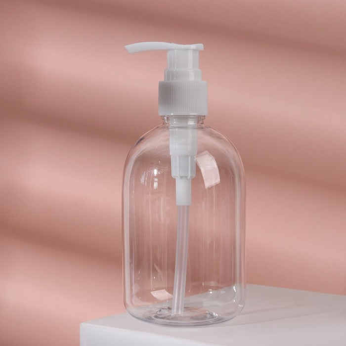 Бутылочка для хранения с дозатором, 300мл, цвет белый