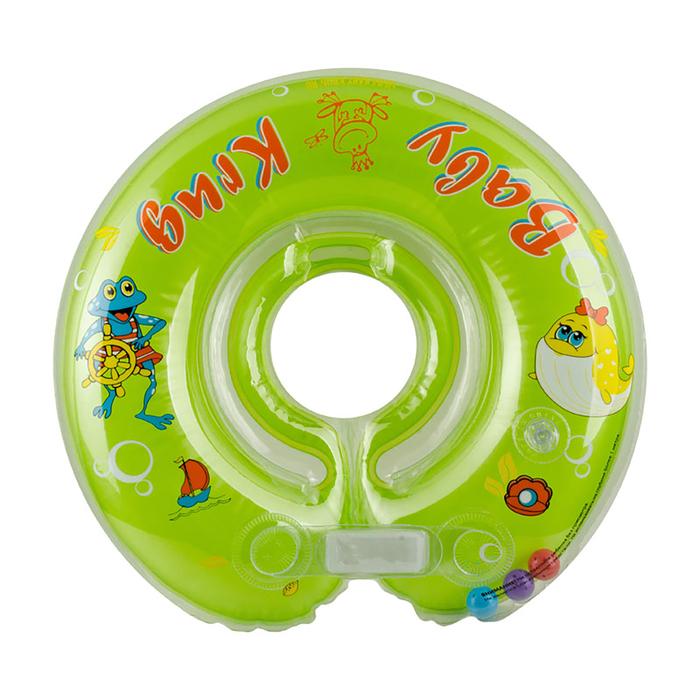 Круг на шею для купания, с погремушками, от 0 мес., цвет зелёный - фото 105455889