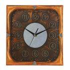 """Часы настенные квадратные """"Серия Сумрак. Цифры в кружках"""", 31 × 31 см, рама под бронзу, циферблат под состаренное дерево"""