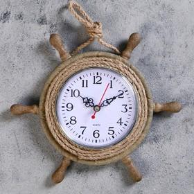 """Часы настенные """"Штурвал"""", d=22 см, по кругу канат из бечёвки, коричневые"""