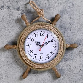 Часы настенные 'Штурвал', d=22 см, по кругу канат из бечёвки, коричневые Ош