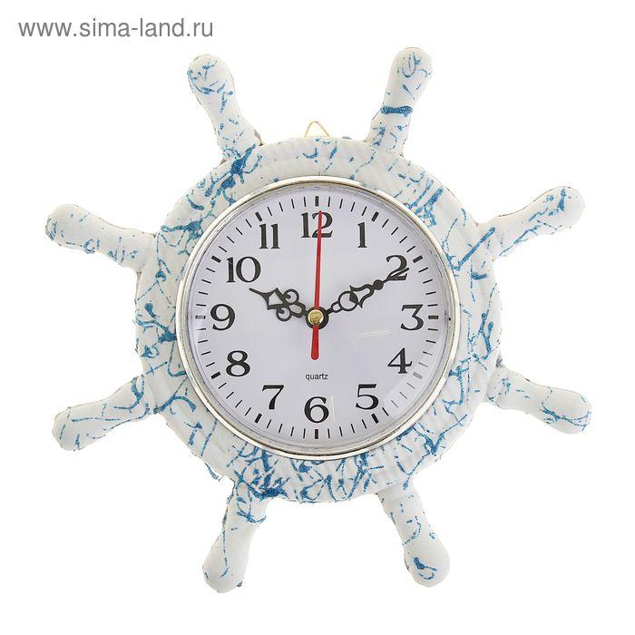Часы настенные 22*22*3 см. штурвал с канатом цвет бело-синий