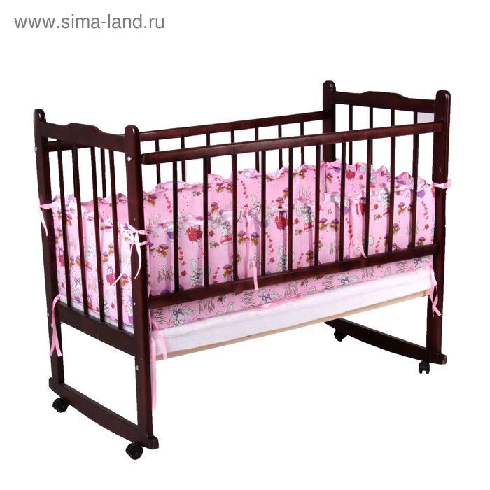 """Бортик с рюшей """"Зайчики"""", 4 части (2 части: 30х60 см, 2 части: 30х120 см), цвет розовый (арт. 552)"""