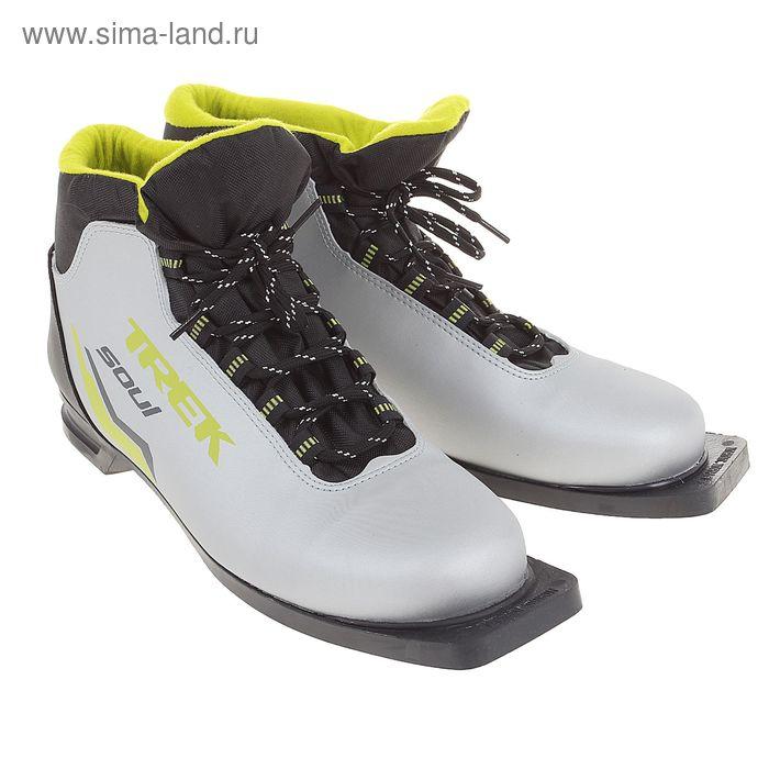 Ботинки лыжные TREK Soul NN75 ИК (серебреный, лого салатовый) (р.45)