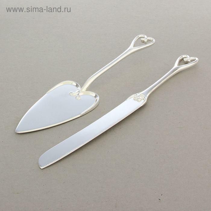 Набор для торта «Сердце», нож и лопатка, серебряный