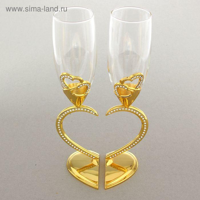 """Набор свадебных бокалов """"Два сердца"""", золотой"""