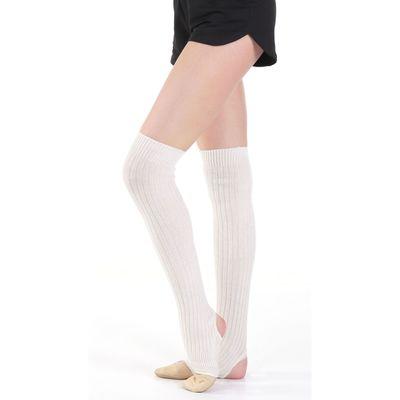 Гетры для танцев, с отверстием под пятку 30 см, цвет молочный