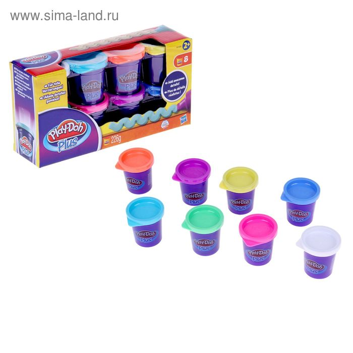 Пластилин Play-Doh Plus, набор 8 баночек