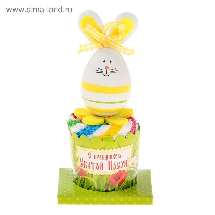 """Полотенце сувенирное Collorista """"Пасхальный кролик"""" желтый 25х25 см хлопок"""