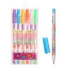Набор гелевых ручек 6 штук разноцветные стержни в пластиковой упаковке