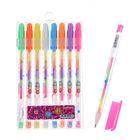 Набор гелевых ручек 8 штук разноцветные стержни в пластиковой упаковке