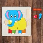 Frame - liner on wooden base Elephant, 12 elements