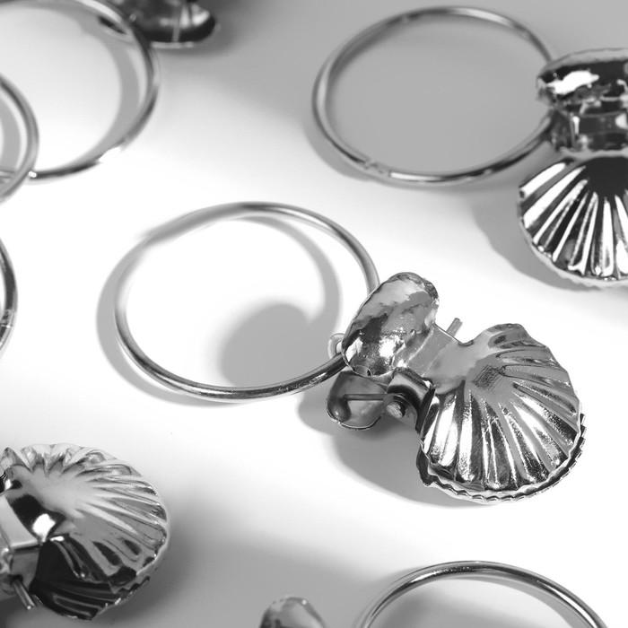 Кольцо для карниза, с зажимом, d = 32/36 мм, 20 шт, цвет серебряный