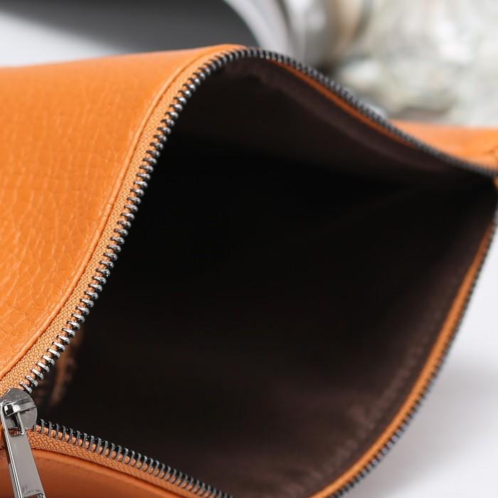 Сумка женская, 2 отдела, длинный ремень, цвет оранжевый