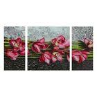 """Модульная картина на стекле """"Цветы"""", 2 — 25×50, 1 — 50×50 см, 100×50 см"""