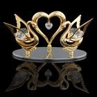 Сувенир «Два лебедя с сердцем», на подставке, с кристаллами Сваровски, 5,5 см